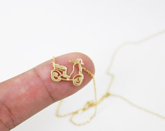 Gold and Silver Motorcycle Charm Necklace . Dainty and Delicate Necklace Birthday Gift