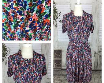 Original 1930s Vintage Floral Novelty Print Rayon Crepe Day Dress