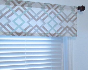 Modern Geometric Window Valance Winston Artichoke Sage Taupe Grey Custom Sizing Available