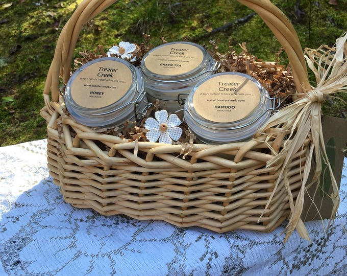 Candle Gift Basket - Spa - Scented - wooden wick - thank you - appreciation- pamper