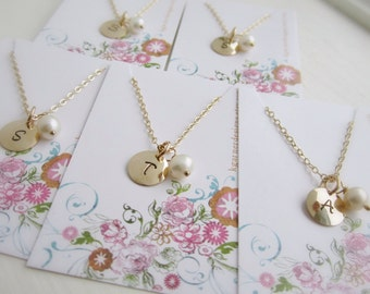 Set of FIVE 5 Bridesmaid necklaces, pearl necklace, personalized gold initial necklace, custom birthstone necklace, bridesmaid jewelry,