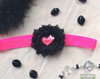 Black Hot Pink Heart Flower Headband