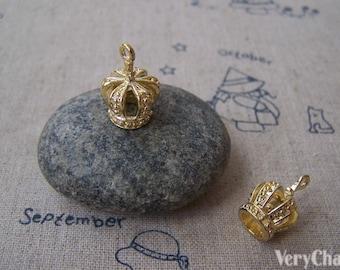 6 pcs Filigree Crown Charms Anti Tarnish 16K Gold Plated Pendant  13x19mm A5018