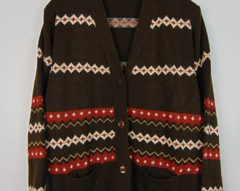 Vintage Brown Pattern Cardigan