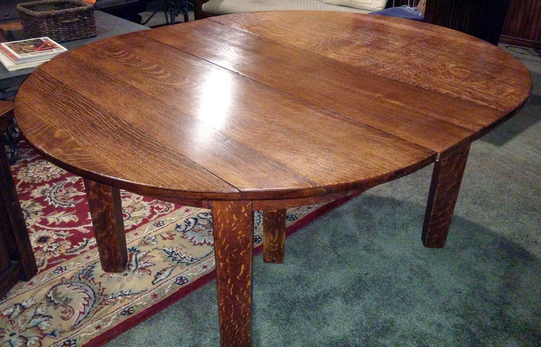 Original Gustav Stickley 5 Leg Mission Oak Dining Table with 2