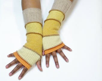 Fingerless Gloves,Armwarmers(Yellow Orange/Butter Yellow,Gold Sparkle/Maize/Yellow/Tan)Brenda Abdullah