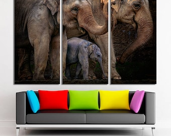 Family of elephants, Elephants canvas, Elephants photo, Elephants print, Elephants wall art, Elephants decor, Elephants canvas art, Canvas