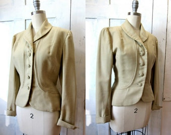 40s Tan Wool Suit Jacket - Gabardine Wool - Blazer - Fitted Waist - Pockets -