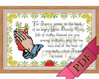 Cross Stitch Sampler (PDF) Pattern - Archer Inspired Bloody Mary Prayer >>> Instant Download