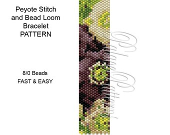 Peyote Stitch Bracelet Pattern - 8/0 Seed Bead Pattern - 8 bead 18 - Bead Loom Bracelet Pattern for Large Beads