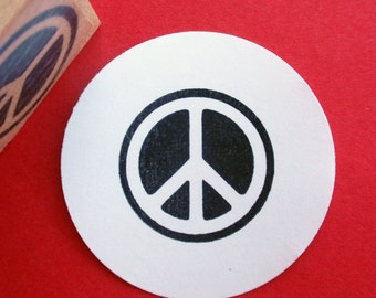 Peace Sign Rubber Stamp - Handmade rubber stamp by BlossomStamps