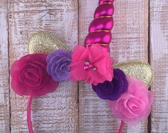 Unicorn Headband, Unicorn Floral Crown, Unicorn Birthday, Girl Birthday, Unicorn Party