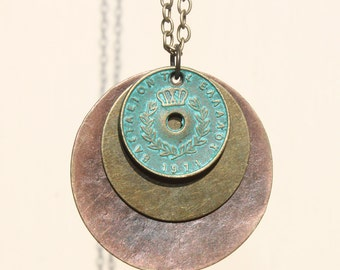 Boho Pendant Necklace Bohemian Necklace Pendant Copper Turquoise Necklace Pendant Bohemian Jewelry Mixed Metal Necklace Gift For Her