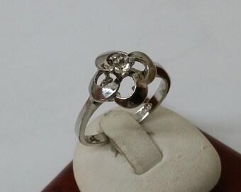 Art Deco flower ring silver 835 17.2 mm SR389
