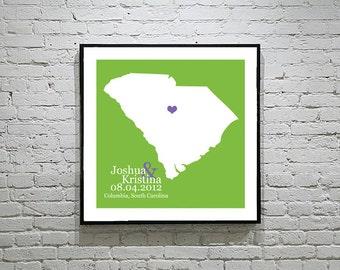 South Carolina Wedding Gift Custom State Map Personalized Couple Art Personalized South Carolina Map State Map Art Personalized