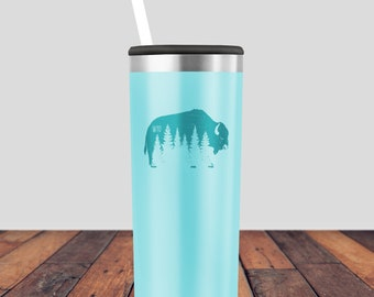 Coffee Mug - Wyoming Mug - Teal Mug - Bison Tumbler