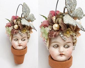 Butterfly bush, Flower Pot Head, mixed media assemblage, altered art doll, doll head ornament, flower child, by Elizabeth Rosen