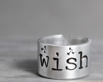Wish Ring, Inspiration Ring, Dandelion Ring, Inspiration Jewelry, Hand Stamped Ring, Handstamped Ring, Wish Jewelry, Hand Stamped Gift