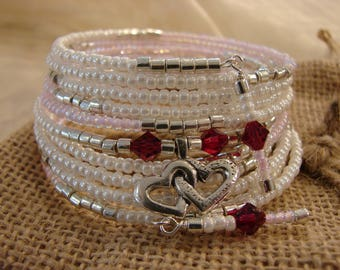 Two Hearts As One: 10-Coil Memory Wire Bracelet With Swarovski Crystal and Sterling Silver!