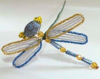 French Beaded Dragonfly Plant Stick in Blue and Gold