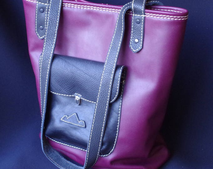 soft plum and black leather tote bag