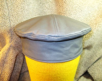 Leather Kufi Hat in Gray/ Golden Child Hat, Unisex Leather Crown