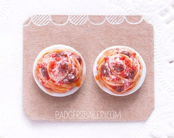 Miniature SPAGHETTI Stud Earrings, Food Jewelry, Polymer Clay Meatballs or Vegetarian Marinara Pasta