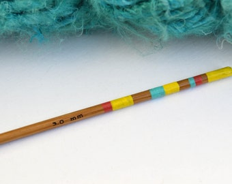 Crochet Hook UK Size 11 (3mm) - Hand Painted Bamboo Crochet Hook