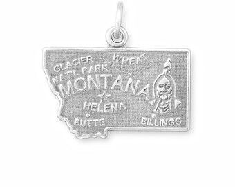Oxidized Silver, Montana, State Charm, Sterling Silver, Silver Montana, Silver State Charm, MT State, Treasure State, State Jewelry