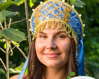 Russian hat traditional brocade kokoshnik, Russian crown, Russian beading headwear, Russian traditional hat