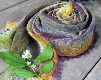 Linen scarf man scarf woman scarf summer accessory green yellow scarf brown purple scarf multicolor scarf linen shawl GIFT for HER or HIM