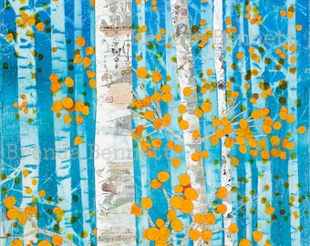 It's Time For A Change - Mixed Media Paper Collage by Brenda Bennett - Gallery Wrapped Canvas Print, Aspen Tree Art, Fall Colors