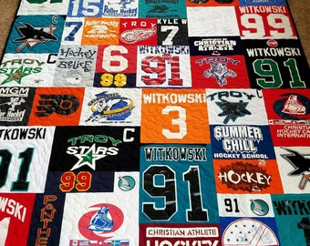 T-shirt quilts made from 10-55 t shirts. Mosaic tshirt quilt. Memory Puzzle tee shirt quilt. Deposit only!