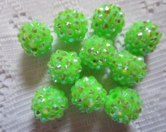 10  Bright Lime Green Rhinestone AB Sparkle Round Berry Acrylic Beads  14mm