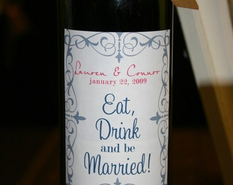 Custom Wine Bottle Labels Set of 12 - Perfect for Weddings, Rehearsal Dinners, Favors, Gifts & More