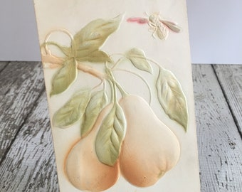 Vintage PEARS and BEE Postcard~Embossed~ Junk Journal~ Scrapbooking ~