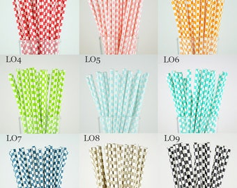 Checkered Paper Straws/Wedding/Party Deco/Cake Pop Sticks/Mason Jar Straws/Party Supplies-Choose Your Own Color