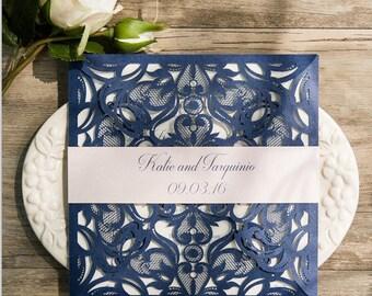 Navy and Blush Laser Cut Wedding Invitation
