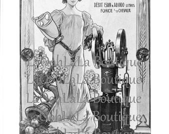 1890s La Moto-Pompe Paul Noël & Under the Flowers Vintage Double Sided Print Tamagno and Edmond-François Aman-Jean Art Nouveau Goddess Decor