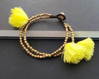 Bohemian Bracelet Brass  Yellow  Tassles