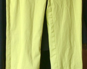 VINTAGE ESPRIT PANTS lime green, chartreuse , small, 90s style, fun color