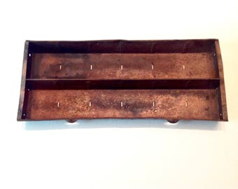 Vintage rusty metal storage tray organizer copper color finish
