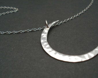 Sterling silver hammered Crescent Moon Necklace...Large Moon, Jewelry for simple everyday, layering, Wedding, Anniversary, bridesmaid gift