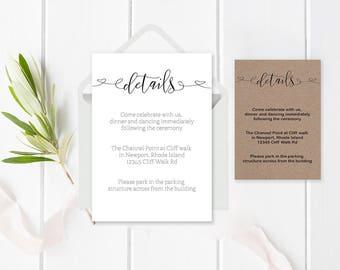Wedding Details Card Template, Printable Wedding Information, DIY Accommodations Card, Editable PDF, Rustic Wedding, Wedding Enclosure Cards