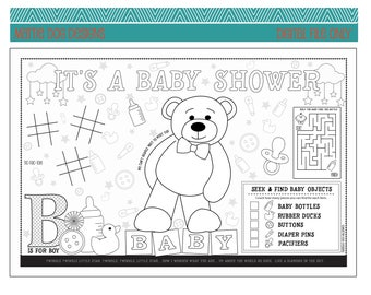 BABY SHOWER-activity placemat- Digital file only