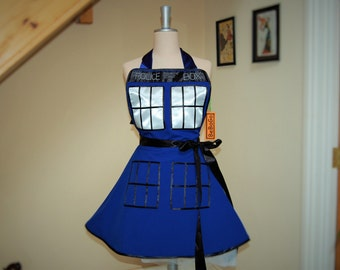 Cosplay apron , Police Call Box Womans apron ,Pin up Hero Cosplay Costume Apron