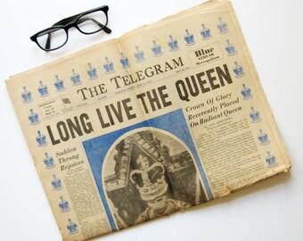 Queen Elizabeth Coronation - Vintage Telegram Newspaper June 2 1953 Edition - Sir Edmund Hillary Mount Everest - Paper Ephemera Advertising