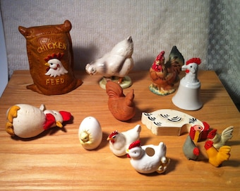 Bakers Dozen of Chickens-Roosters-Lot Consists of A Bank-A Bell-Rubber Pencil Eraser-Ceramic-Cloth-Wood-AVON 1985 Clay-S/P Shakers