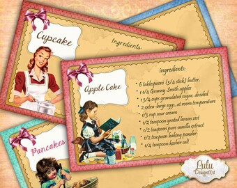 Printable Recipe Cards - Digital Collage Sheet - Recipe Cards - Cooking - Pin Up - Retro - Digital Paper - Scrapbook - Decoupage, Printables