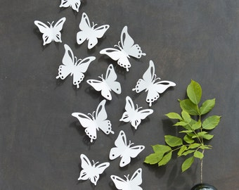 White Butterfly Wall Decor 3D Set of 12, PopArt, Made in Canada